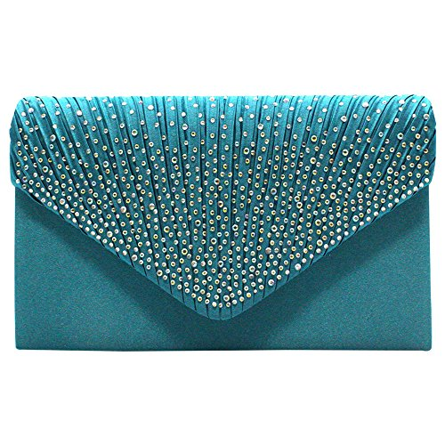 HandBags Diamonte Bag TM Prom Fashion Blue Wocharm Envelope Clutch Wedding Shoulder Women's Womens Bridal Purse Teal OUfnwEqR