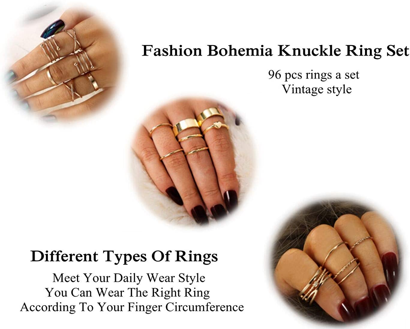 Clothing Shoes Jewelry Cassieca 99 109 Pcs Knuckle Rings For