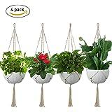 Macramé Plante Cintre, Lintimes Suspension Macramé Pour Plante Ultra Longue Et Créative Pour L'intérieur et L'extérieur - 110 CM, 4 Pcs