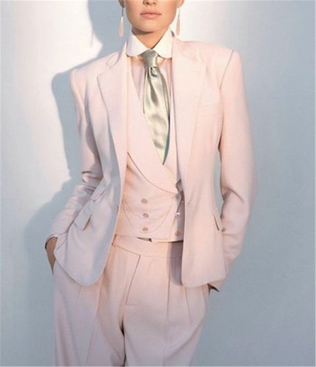 Silver Moonlight Women's Novelty 2 Button White Pant Suit (2XL) by Silver Moonlight (Image #2)