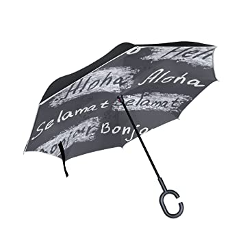 COOSUN Paraguas invertido de Doble Capa con Frases de Felicitación, Resistente al Viento y a la