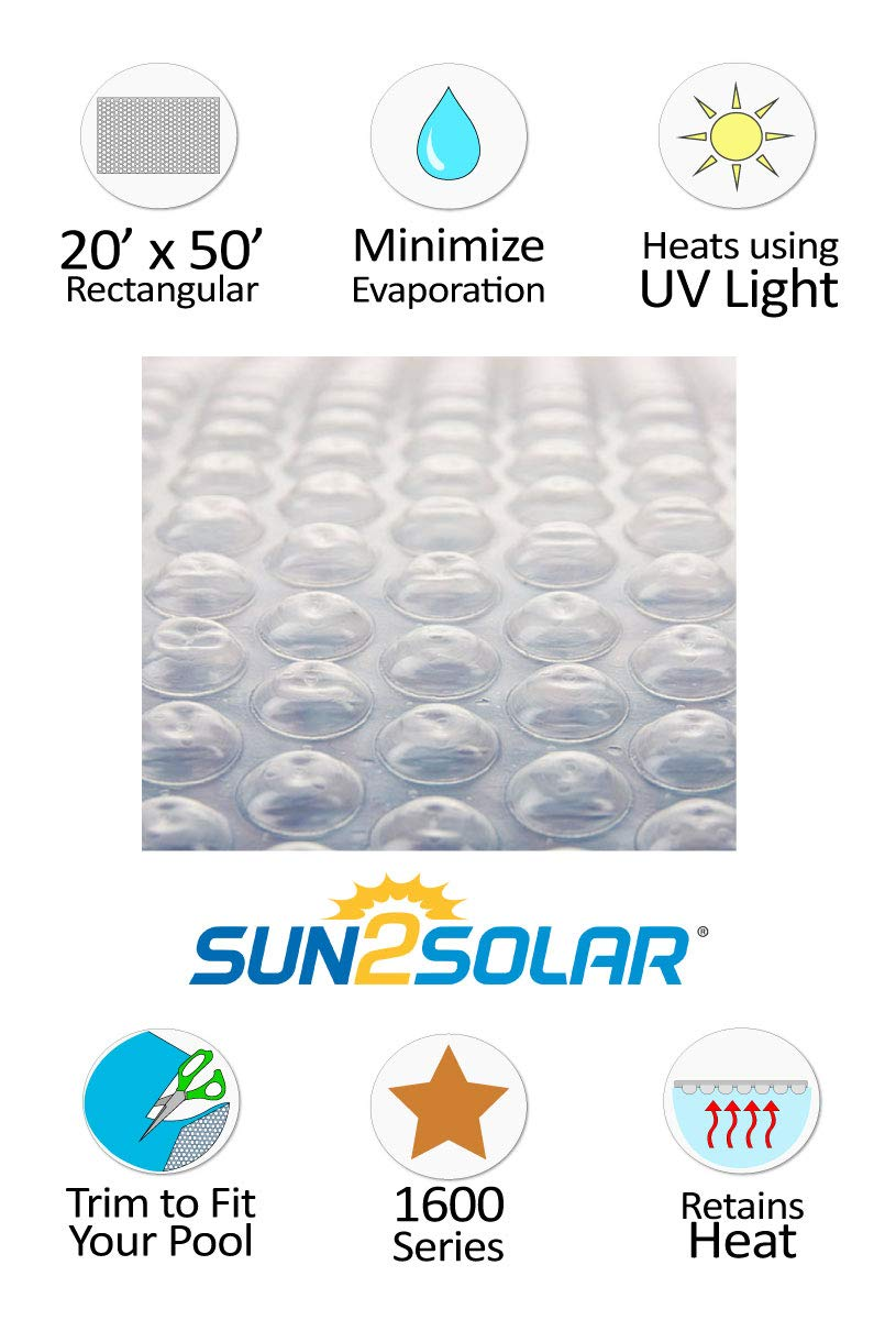 Sun2Solar 18 x 34 Rectangle Clear Swimming Pool Solar Blanket Cover 1600 Series