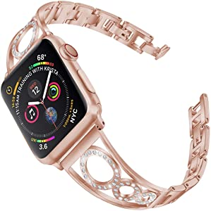 AmzAokay Stainless Steel Band Compatible Apple Watch Bands 38mm 40mm 42mm 44mm Women Iwatch Series 6 SE 5 4 3 2 1 Accessories Jewelry Cuff Bangle Bracelet Metal Wristband Strap