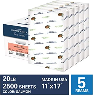 product image for Hammermill Colored Paper, 20 lb Salmon Printer Paper, 11 x 17-5 Ream (2,500 Sheets) - Made in the USA, Pastel Paper