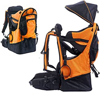 Baby Toddler Hiking Carrier Backpack w/Raincover Child Kid Sun/Canopy Shield A+ (Orange)