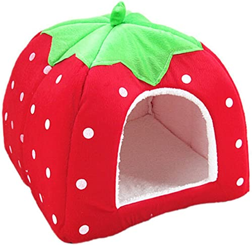 Gilroy Pet Kennel Dog Cat Puppy Bed Strawberry Mat Basket