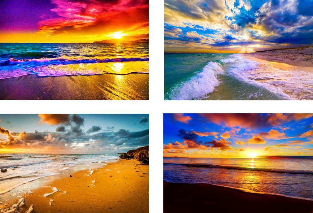 4 Pack 5d Full Drill Diamond Art Painting Kits for Adult Kids Sun Sunset Beach Diamond DIY Dotz for Home Wall Decor, 12×16 INCH (A-Pack) by OurSuperDeals