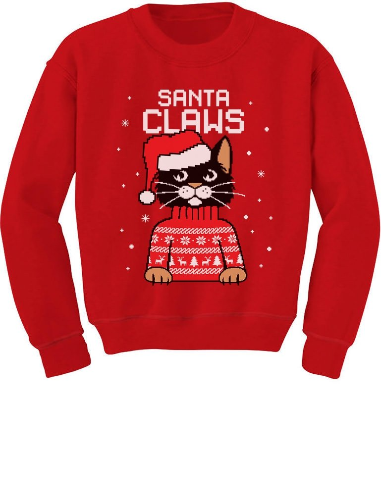 TeeStars - Santa Claws Cat Ugly Christmas Sweater Toddler/Kids Sweatshirts GtPtP3tgf5