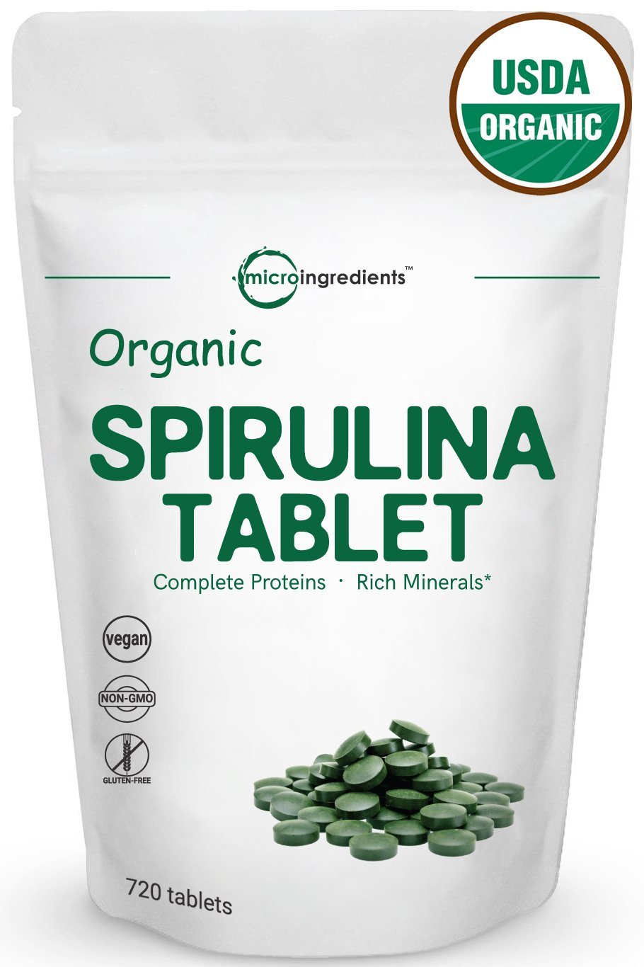 Organic Spirulina Supplements, 3000mg Per Serving, 720 Tablets, Best Superfoods for Rich Minerals, Vitamins, Chlorophyll, Amino Acids, Fatty Acids, Fiber & Proteins, Non-GMO & Vegan Friendly