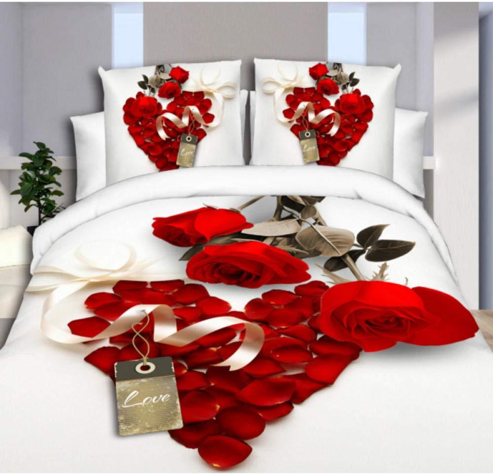zhj888 Bedding Set 3D Football Clove Plant Flower Rustic Style 4 / 3pcs Family Children's Room Pillowcase