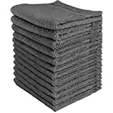 Luxury Cotton Washcloths (12-Pack, Grey, 12x12 Inches) - Easy Care, Fingertip Towels, Facial Towelettes, Cotton Hand Towels - by Utopia Towels