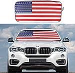 Car Windshield Sun Shade, American Flag Blocks UV Rays Foldable Sun
