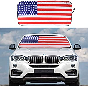 Car Windshield Sun Shade, American Flag Blocks UV Rays Foldable Sun Visor Protector to Keep Your Vehicle Cool and Damage Free (Red)