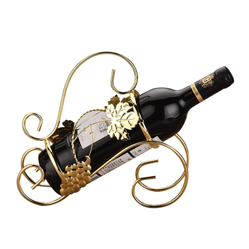 gold Tabletop Free Standing Wine Rack Display Iron Retro Wine Bottle Holder Stand for Bar, Wine Cellar, Basement, Cabinet, Pantry,Brown