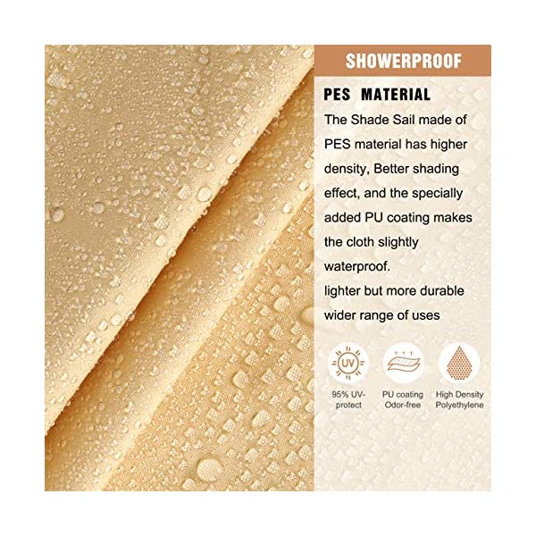 61R0vabX4iL RATEL Sonnensegel Sand 3 × 3 m Rechteck, wasserdicht Windschutz mit 95% UV Schutz Sonnenschutz für Draußen, Patio…