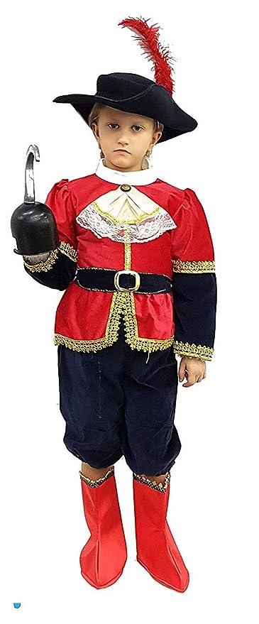PICCOLI MONELLI Costume Capitan uncino Bambino 7 8 Anni Vestito Pirata  Caldo di Carnevale con Accessori 01f9d402f5e4