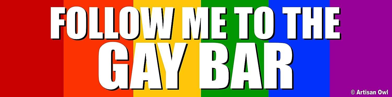 Artisan Owl Hilarious Follow Me To the Gay Bar Rainbow Auto Bumper Magnet