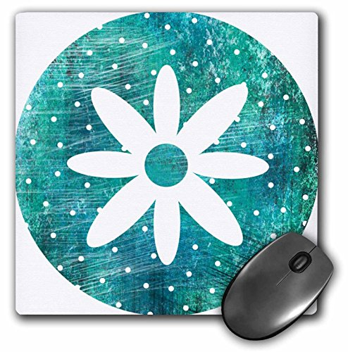 Price comparison product image 3dRose LLC 8 x 8 x 0.25 Inches Vintage Turquoise Floral White Flower Art Pattern Mouse Pad (mp_51356_1)