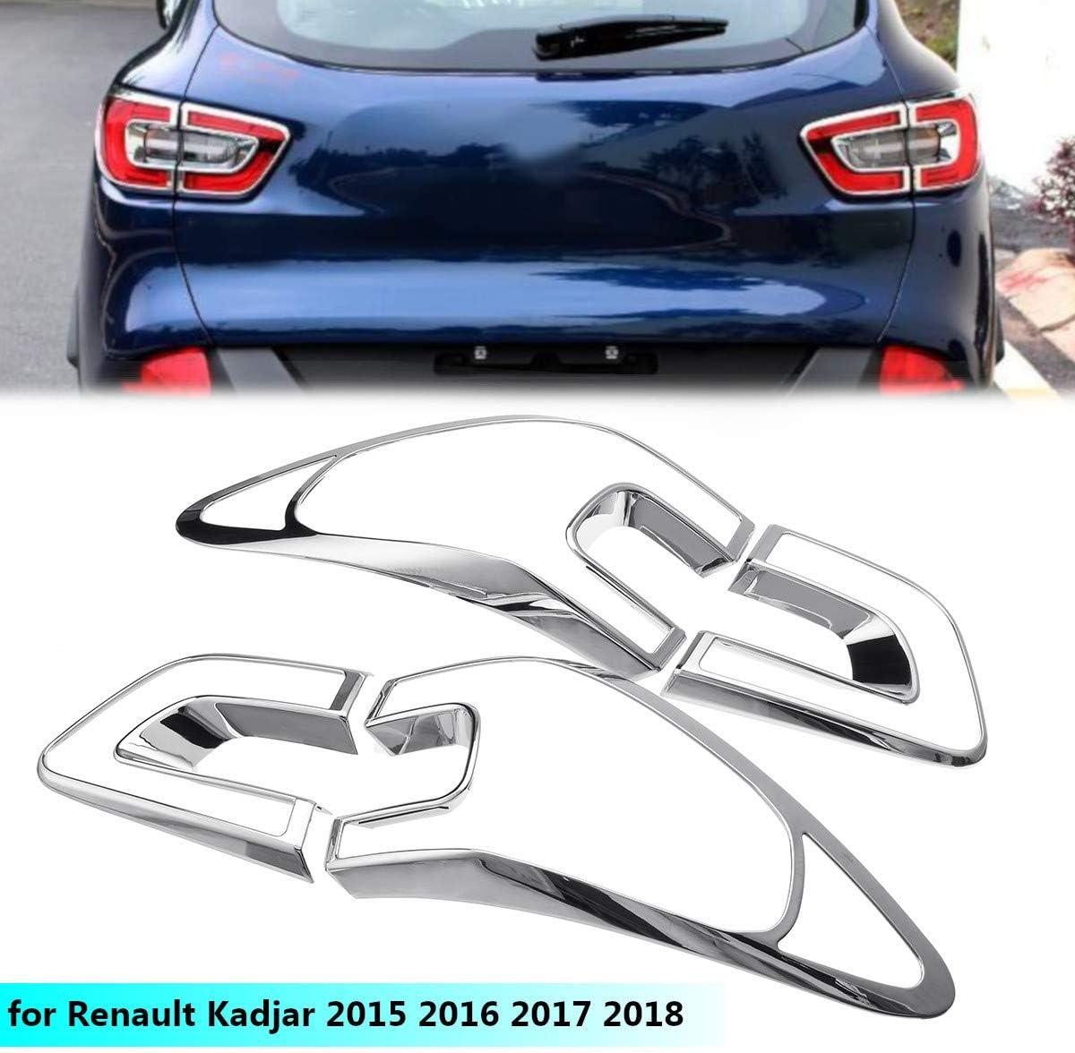 Liseng 4 St/ücke Auto R/ück Licht Abdeckung Zier Rahmen Abs Chrom Dekoration f/ür Kadjar 2015 2016 2017 2018 Styling Zubeh?r