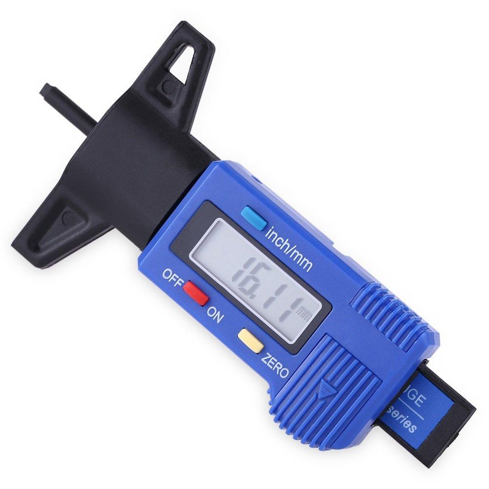 Misuratore di profondità del battistrada del pneumatico - Misuratore del misuratore di profondità del battistrada del battistrada digitale per pneumatici Misuratore metrico/pollici 0-25, 4 mm Blu Dewin