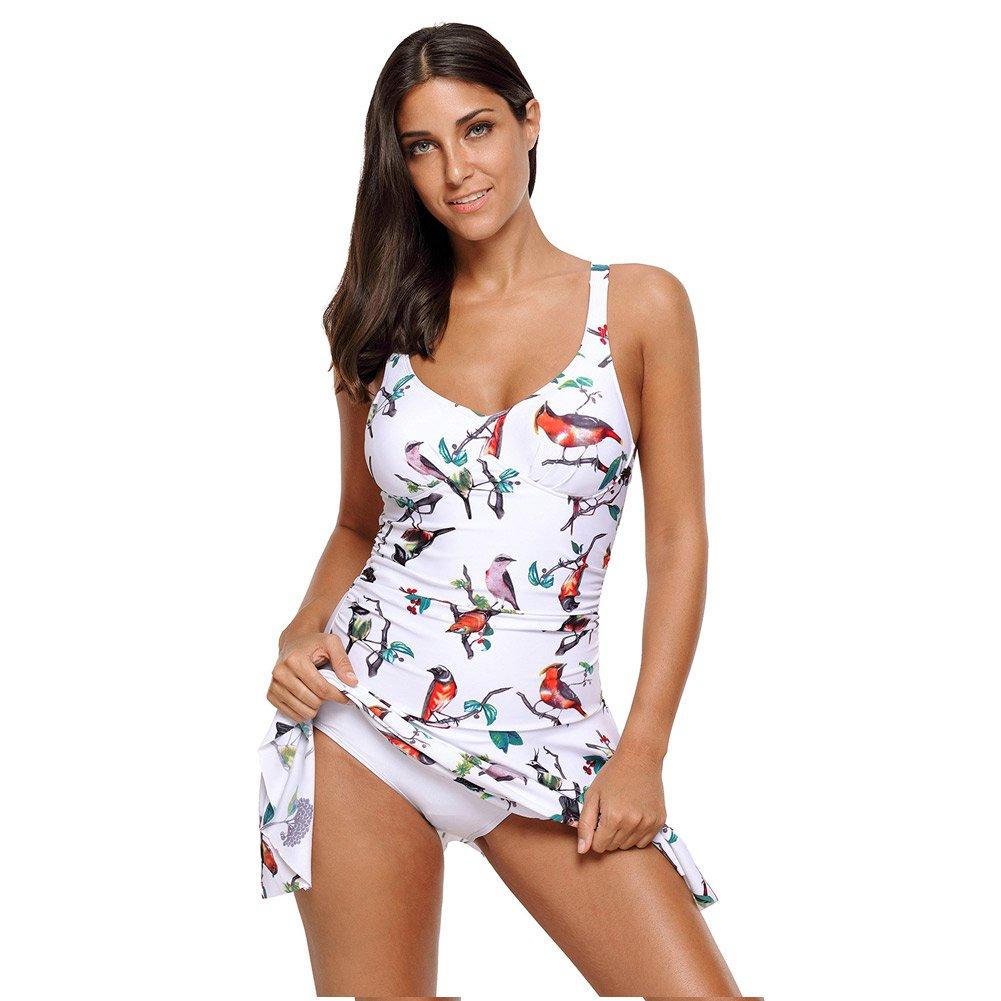 Zeffimore Women's Plus Size Swimdress Bird Print Ruched One Piece Skirtini