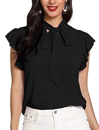 75f6aebf36d8cb Romwe Women s Bow Tie Neck Ruffle Trim Sleeve Office Work Casual Blouse Top  Shirts Black XS