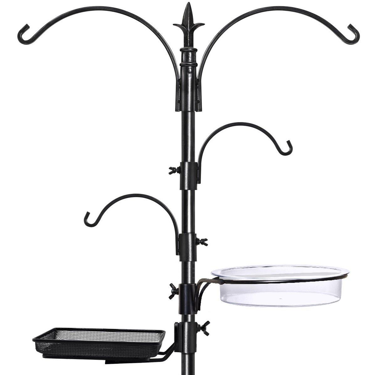 GrayBunny GB-6844 Premium Bird Feeding Station Kit, 22'' Wide x 91'' Tall (82 inch above ground) Black, A Multi Feeder Hanging Kit & Bird Bath For Attracting Wild Birds, Birdfeeder and Planter Hanger