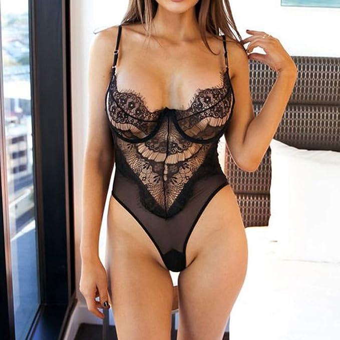 VJGOAL Mujeres Ropa Interior Sexy Babydoll Negro Ropa de Dormir Perspectiva de tentación Encaje Ropa Interior erótica Mono Traje(XL,Negro): Amazon.es: Ropa ...