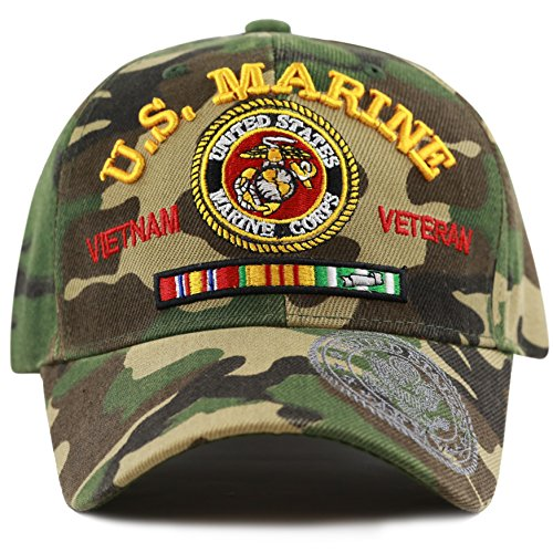 THE HAT DEPOT 1100 Official Licensed U,S,Military Vietnam Veteran Ribbon Woodland Camo Cap (Woodland-Marine)