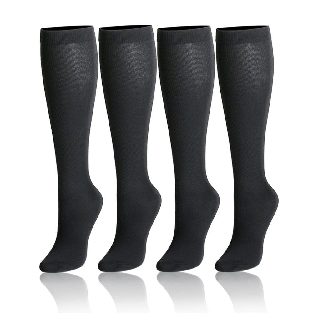 卒業圧縮ソックス20 – 30 mmHg – 中程度レディース&メンズの圧縮ストッキングfor Running、クロスフィット、travel- Suits、看護師、妊娠、脛骨過労性骨膜炎 B07KR56Q92 Large / X-Large 4 Pairs Solid Black (15-20 mmHg) 4 Pairs Solid Black (15-20 mmHg) Large / X-Large, 美禰郡 d1cdcca6