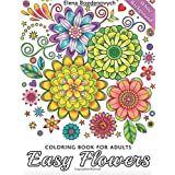 Easy Flowers Coloring Book for Adults: White Background