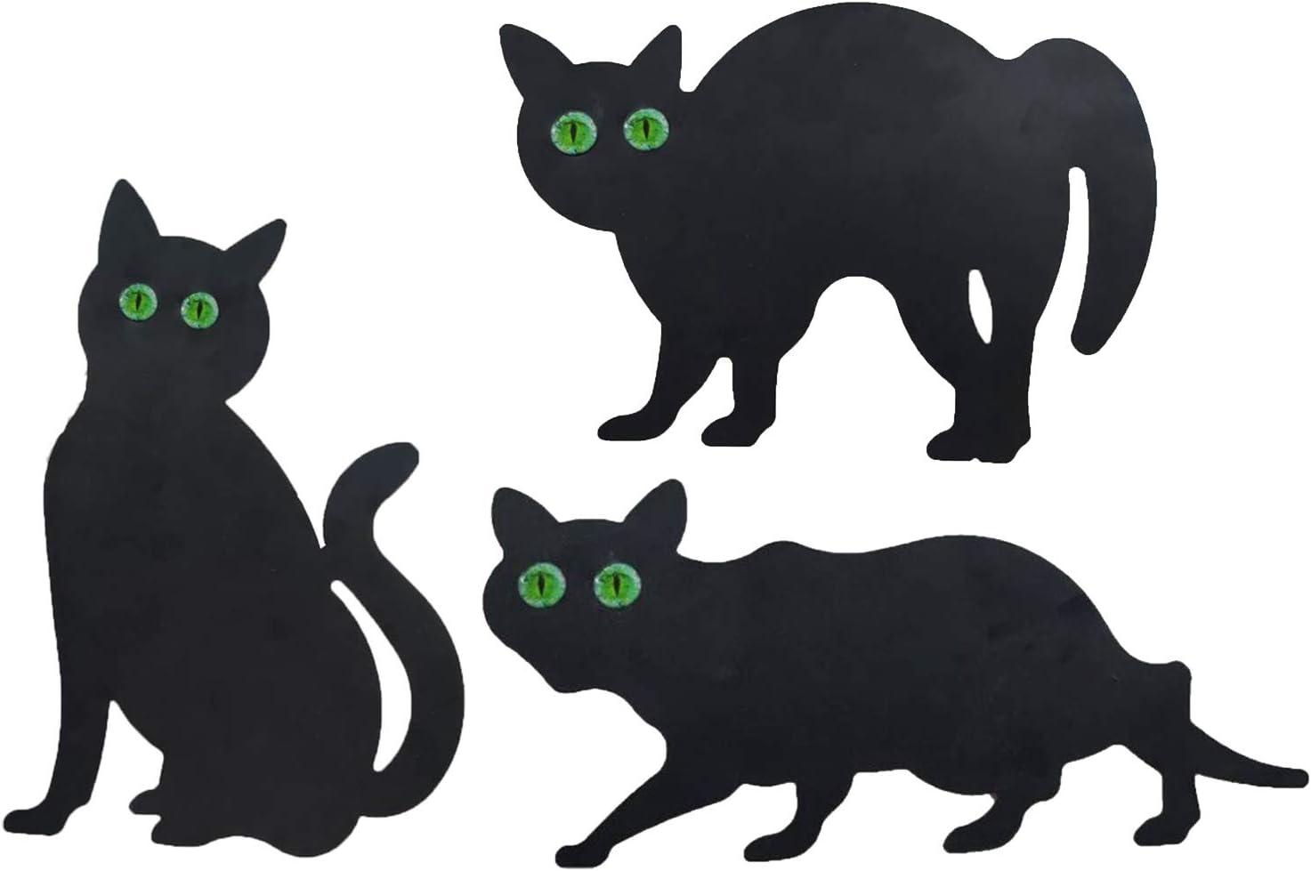 Fenteer Conjunto de 3 Negro Gato jardín esparcido disuasorio Plaga/pájaro/roedor/Zorro decoración al Aire Libre Animales Figuras estatuas Regalos