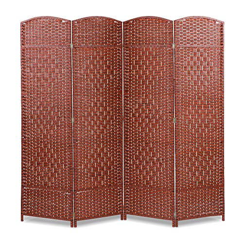 Ejoyous Room Divider, 4 Panel Partition Folding Privacy Screen Free Standing Woven Rattan Tall Panel Divider for Home Office ()