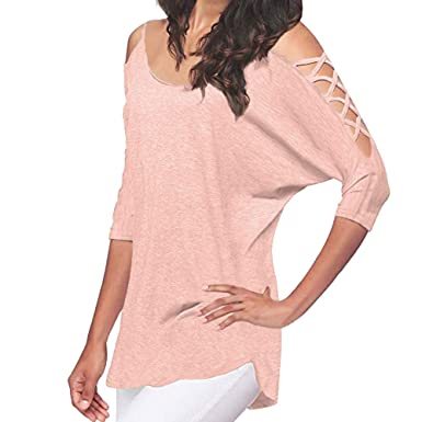 70453a9fb97 BaZhaHei Women's Casual Blouse Tops Hollow Out Crop Shirt Cold Shoulder  T-Shirt Half Sleeve