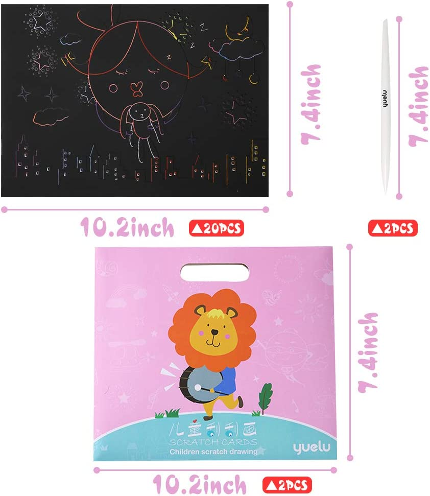 Koogel Scratch Painting Kits,20 Pcs Scratch Art Kit Cartoon Scratch Art Set Animal Scratch Art for Childrens Painting Art Creation Painting Teaching