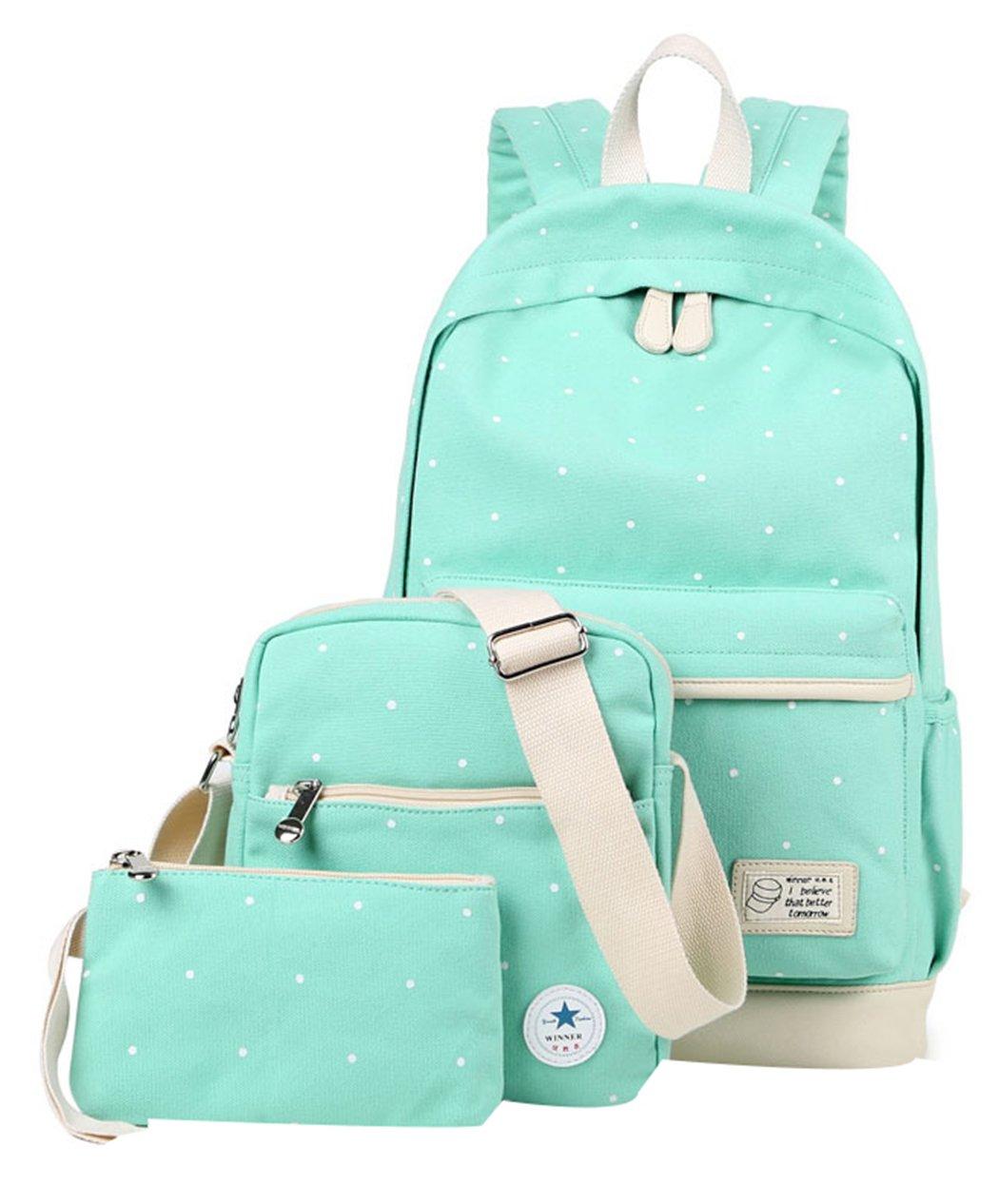 JiaYou Canvas Laptop Bag Shoulder Bag Pen Bag 14L School Backpack 3 Sets(Light Blue Dot,14L)