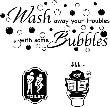 3pcs Pegatinas Pared para Aseo Lavabo Baño Vinilos Inodoro Stickers WC Frases Ingles Toilet Signo Baño Puerta Toilet Hombre Mujer Adhesivos Decorativos: Amazon.es: Bricolaje y herramientas