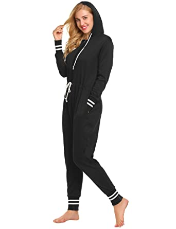 22281c84a66d L amore Womens Cotton One Piece Pajamas Zip Front Hooded Jumpsuit at Amazon  Women s Clothing store