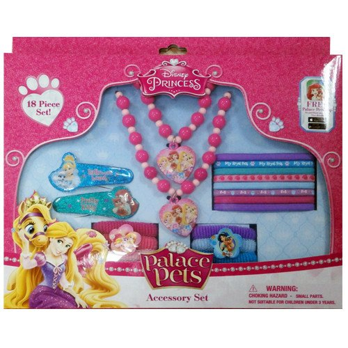 (Disney Princess Box Set with Snap Clips, Beaded Necklace, Beaded Bracelet, Elastics & Terry)