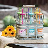 6-Piece Glass Milk Bottle Drinkware Set with Galvanized Caddy