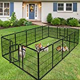 Giantex 40/48inch Dog Playpen with Door, 16/8 Panel Pet Playpen for Large and Small Dogs, Portable Foldable Freestanding Dog Exercise Pens, Metal Dog Playpen Indoor & Outdoor