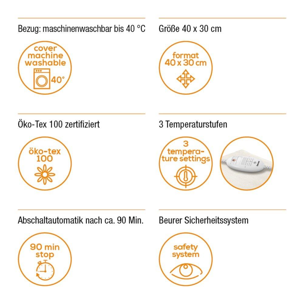 Beurer HK 35 Heizkissen mit Schnellheizung, 3 Temperaturstufen, Abschaltautomatik, 40 x 30 cm Beurer GmbH 091092808