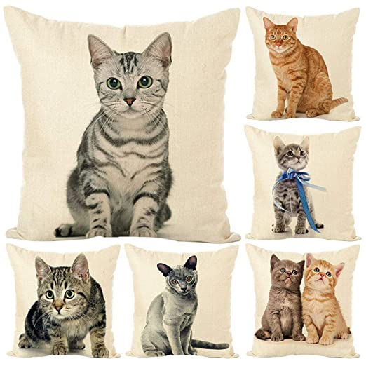 tailor13me Lindo Gato Suave Lino Throw Pillow Case Cojín ...