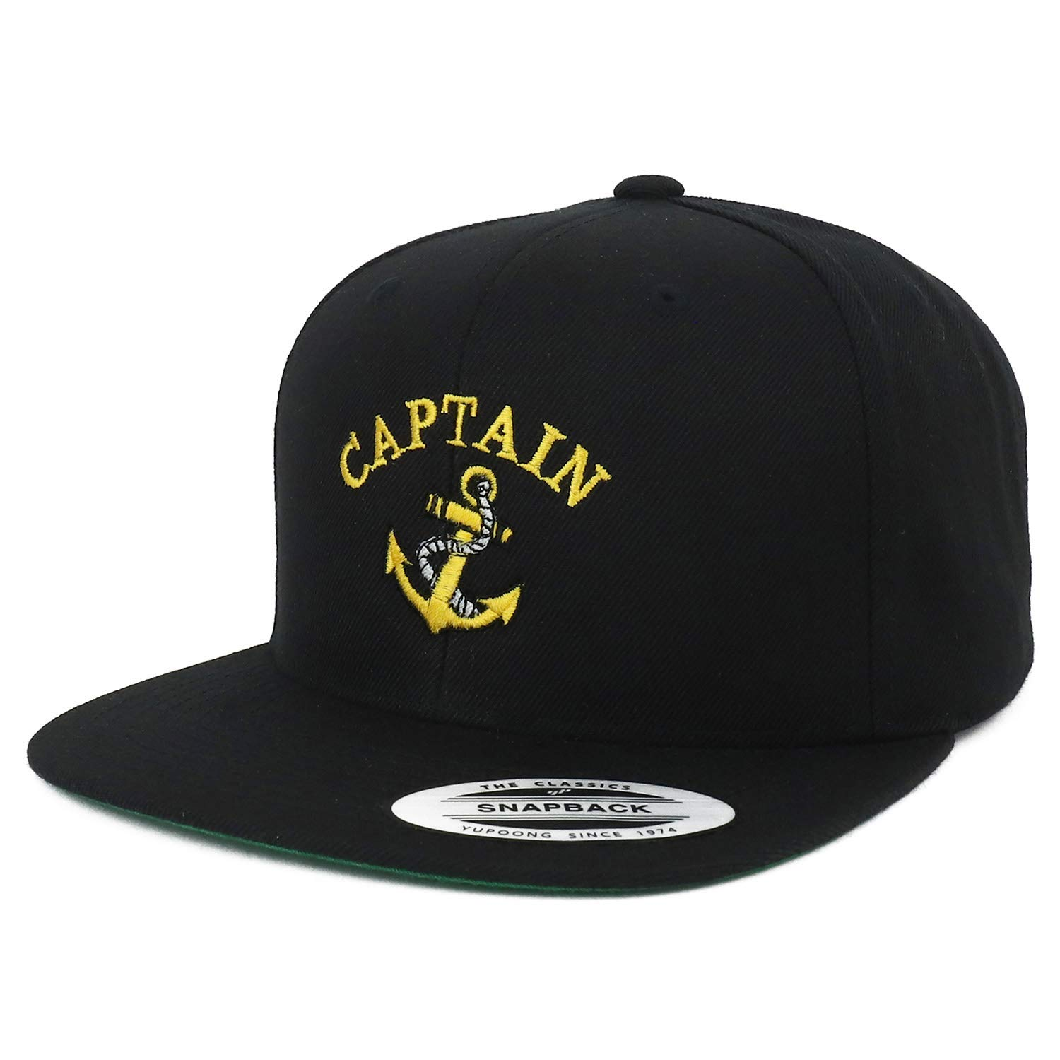 e1d888e3f30c82 Armycrew Flexfit Oversize XXL Captain Anchor Logo Embroidered Structured  Flatbill Snapback Cap - Black - 2XL at Amazon Men's Clothing store: