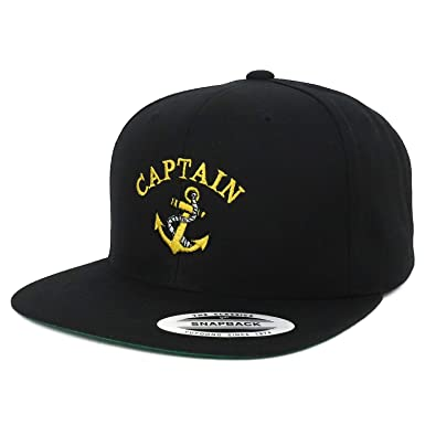 82558b070daf3 Armycrew Flexfit Oversize XXL Captain Anchor Logo Embroidered Structured  Flatbill Snapback Cap - Black - 2XL