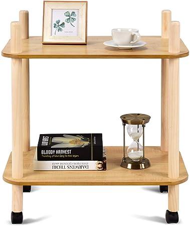 Scaffale con Ruote in Legno per Salotto Modell 3 Letto Divano 60x40x68cm Costway Tavolino Naturale