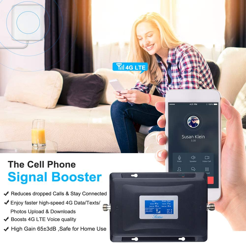 AT/&T Cricket Signal Booster 4G 700mhz Band12//17 Cell Phone Signal Booster Amplifier ATT T-Mobile ATT Cell phone Booster Home Cell Booster Mobile Phone Signal Repeater 65dB 5000sqft Pannel//LPDA Antenna