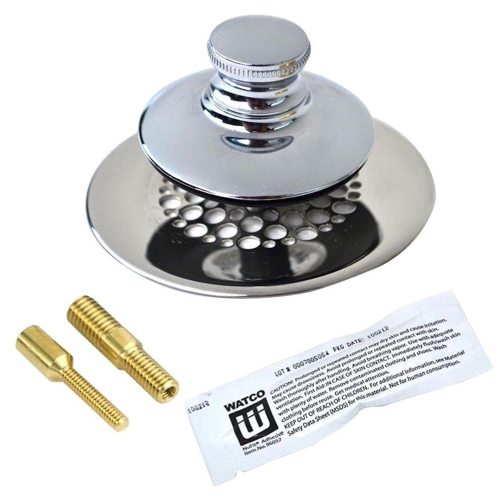 Watco Universal NuFit Push Pull Bathtub Stopper with Grid Strainer and Silicone, Two Pins in Chrome Plated