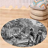 VROSELV Custom carpetVintage Historical French Revolution Sketch with Napoleon and Woman in Garden Artwork for Bedroom Living Room Dorm Dark Grey Black Round 79 inches