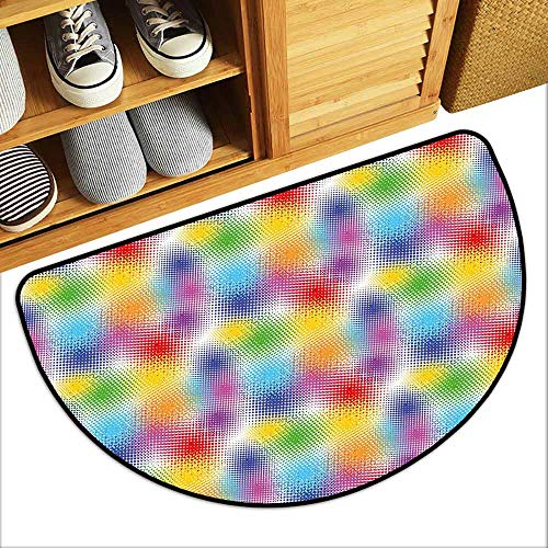 DILITECK Front Door Mat Large Outdoor Indoor Retro Colorful Dots with Halftone Effect Illusion of The Gradient Dynamic Fantasy Artistic Breathability W24 xL16 Multicolor